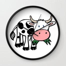 Black and White Steer Munching Grass Wall Clock