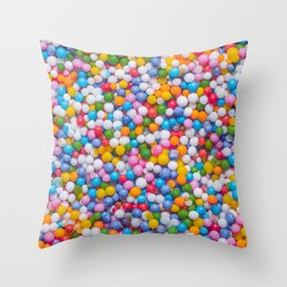 Rainbow Pastel Multicolored Sprinkle Dots Real Candy Pattern  Throw Pillow