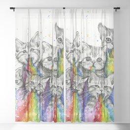 Kittens Puking Rainbows Sheer Curtain