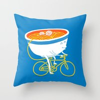 ramen Throw Pillows featuring GoGo Ramen by mogumogu