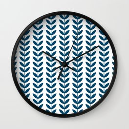 Blue Scandinavian leaves pattern Wall Clock
