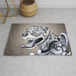 Ornamental Pit Bull - Black and Grey Filigree Pitbull Rug