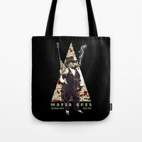 planet of the apes Tote Bags featuring Mafia apes by Luiz Fogaça