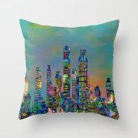 karu kara Throw Pillows featuring Graffiti City by Klara Acel