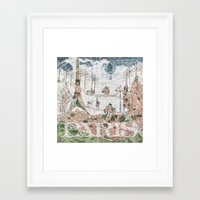 paris map Framed Art Prints featuring Paris Map by Paula Belle Flores