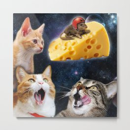 Cats and the mouse on the cheese Metal Print