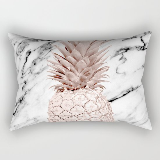 Rose Gold Pineapple on Black and White Marble by followmeinstead