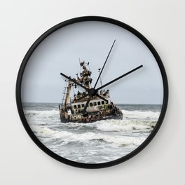 Shipwreck in Namibia Africa Wall Clock