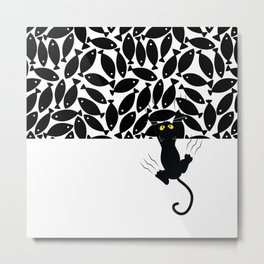 Cat & Fish Metal Print