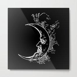 Man On Moon Crescent Moon Metal Print