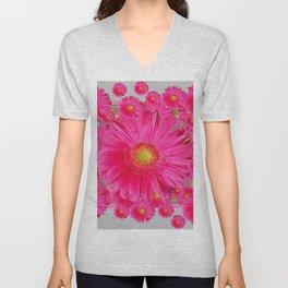 Pink Gerbera Flowers Grey Patterns Art #2 Unisex V-Neck