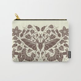 Beetle Bloom Brown Carry-All Pouch
