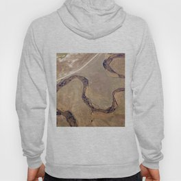 Aerial view, the land structure with road, river and field. Hoody