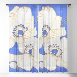 Ultramarine Blue :: Anemones Sheer Curtain