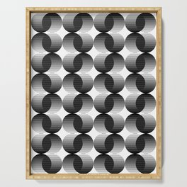 striped dots-black + white Serving Tray