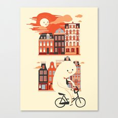Happy Ghost Biking Through Amsterdam Canvas Print