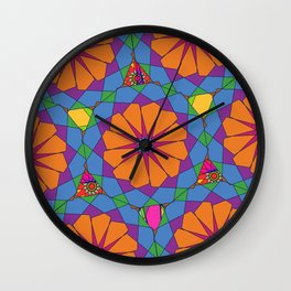 Blue orange ornament Wall Clock