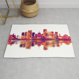 Bucharest Romania Skyline Rug