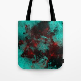 Ruby Galaxy - Abstract cyan, red and black space themed painting Tote Bag