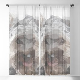 dog illustration - stretches out the tongue Sheer Curtain