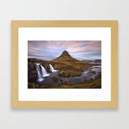 Iceland, Kirkjufell waterfall Framed Art Print