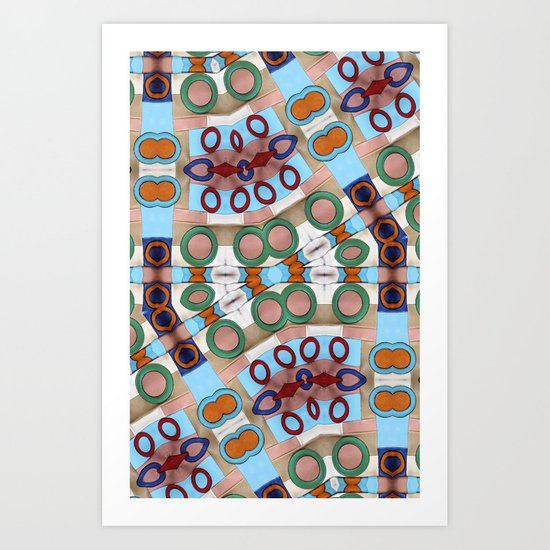 Funky Abstract Geometric Retro Leather Case Art Print