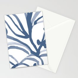 Blue Abstract Watery Lines Stationery Cards