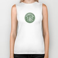starbucks Biker Tanks featuring Starbucks Junkee by Snorting Pixels