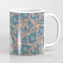 Water Swingers in Deep Wave ( leafy sea dragon pattern in teal and coral ) Coffee Mug