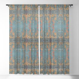 The Spindles- Blue and Orange Filigree  Sheer Curtain