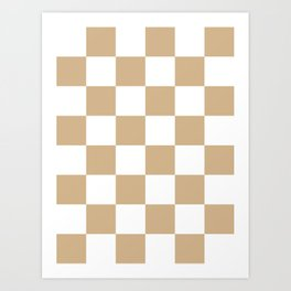 Large Checkered - White and Tan Brown Art Print