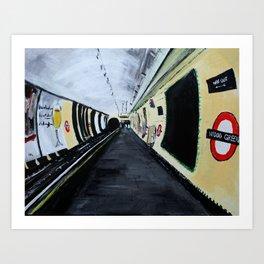 London Underground Wood Green Acrylics On Paper Art Print