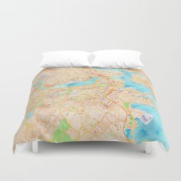Boston watercolor map XL version Duvet Cover