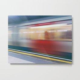 Speeding in London Underground Station Metal Print