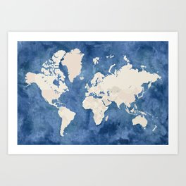 Navy blue watercolor and light brown world map Art Print