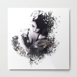 Art fashion boho style sensual girl with feathers Metal Print