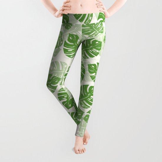 Linocut Monstera Leaf Pattern Leggings
