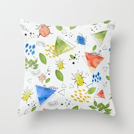 Watercolour creepy crawlies Throw Pillow