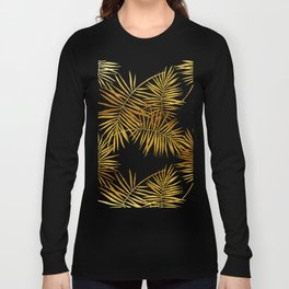 Tropical Palm Fronds in Gold Long Sleeve T-shirt
