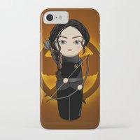 katniss iPhone & iPod Cases featuring Kokeshi Katniss by Pendientera
