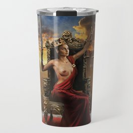 XI. Justice Tarot Card Illustration (Color) Travel Mug