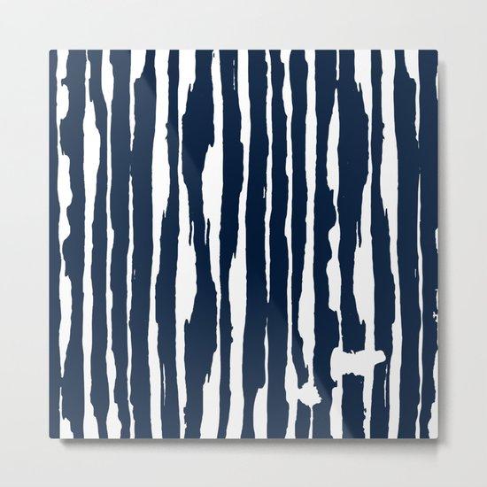 Blue- White- Stripe - Stripes - Marine - Maritime - Navy - Sea - Beach - Summer - Sailor 5 Metal Print