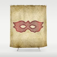 mask Shower Curtains featuring Mask by Bluishmuse