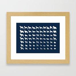All Dogs (Navy) Framed Art Print