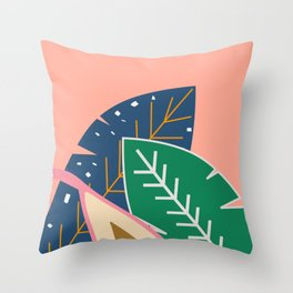 Leaves and a pear in coral Throw Pillow