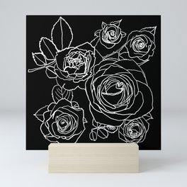 Feminine and Romantic Rose Pattern Line Work Illustration on Black Mini Art Print