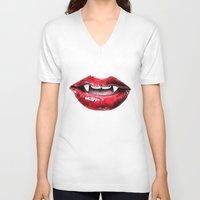 vampire V-neck T-shirts featuring Vampire by RemiJC Designs