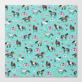 Hand drawn horses, Flower horses, Floral Pattern, Aqua Blue Canvas Print