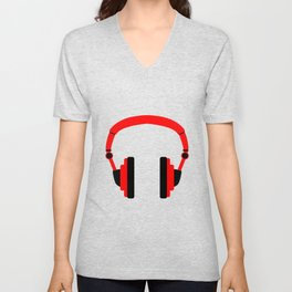 Pair Of Headphones Unisex V-Neck