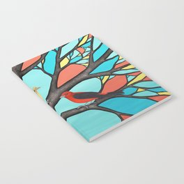 scarlet tanagers in the stained glass tree Notebook